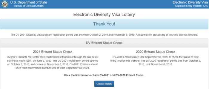Check Status DV-2021